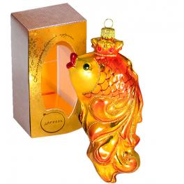 Стеклянная ёлочная игрушка «Золотая рыбка», Россия
