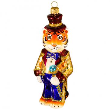 Стеклянная ёлочная игрушка «Тигр волшебник», символ 2022 года
