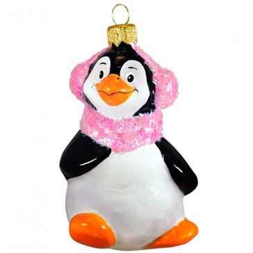 Стеклянная ёлочная игрушка «Пингвин в наушниках», фирменная упаковка