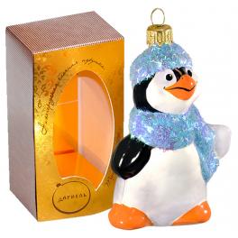 Стеклянная ёлочная игрушка «Пингвин в шарфике», высота 9 см