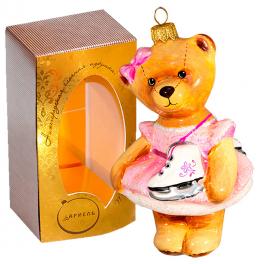 Ёлочная игрушка из стекла «Мишка фигуристка», высота 13 см