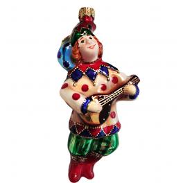 Стеклянная ёлочная игрушка «Скоморох», высота 14 см