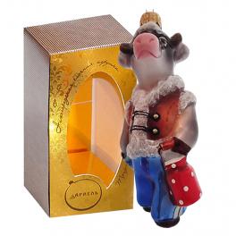 Стеклянная ёлочная игрушка «Стильный Яша», размер 13 см