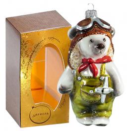 Коллекционная ёлочная игрушка «Мишка – пилот», 13 см.
