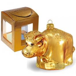 Стеклянная ёлочная игрушка «Золотой теленок», размер 7х11 см