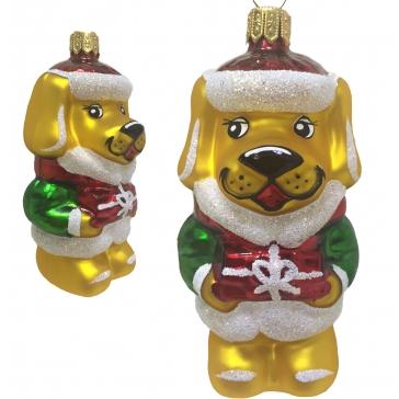 Стеклянная ёлочная игрушка собаки по кличке «Дружок». Символ 2018 года!