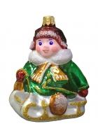 Ёлочная игрушка «Малыш на саночках»