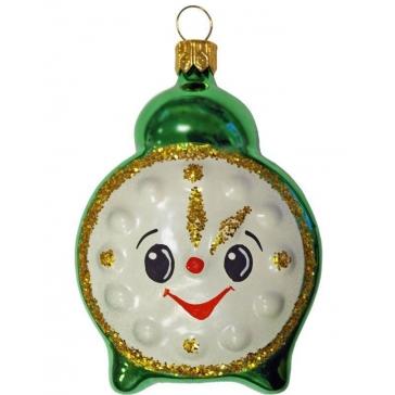 Стеклянная ёлочная игрушка «Зеленый будильник»