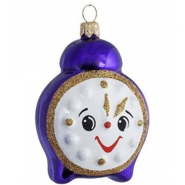 Стеклянная ёлочная игрушка «Синий будильник»