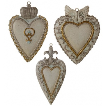 Набор из 3-х елочных игрушек «Сахарные сердца»