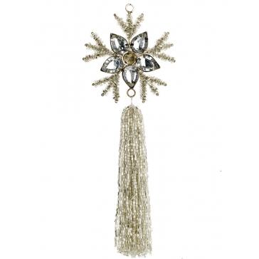 Ёлочное украшение «Снежинка с кисточкой»