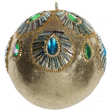 Ёлочное украшение. Золотой шар «Павлин».