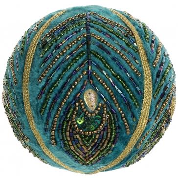 Ёлочное украшение. Расшитый шар «Павлин».