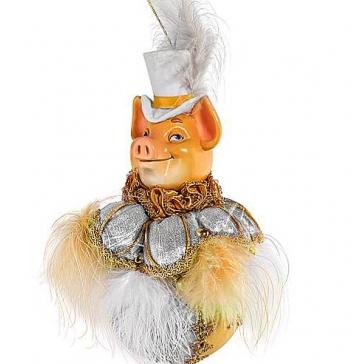 Елочное украшение из текстиля «Элегантный Свин»