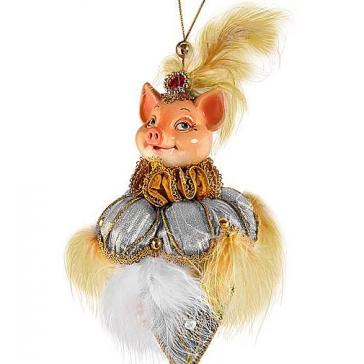 Елочное украшение из текстиля «Элегантная Свинка»