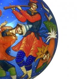 Коллекционный расписной ёлочный шар «Скоморохи», Художник М.Новикова, Палех
