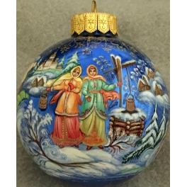 Коллекционный ёлочный шар «Тройка», Художник В.Синькова, Палех
