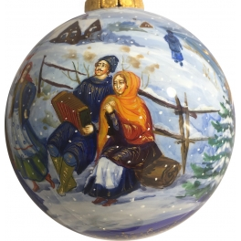 Коллекционный расписной ёлочный шар «Русская зима», Художник М. Новикова, Палех
