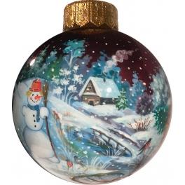 Коллекционный расписной ёлочный шар «Первый снег», Худ. Латышева, Палех