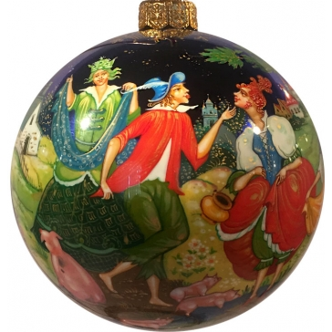 Коллекционное елочное украшение, расписной шар «Свинопас», О.Добрина, Палех