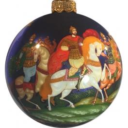 Коллекционное елочное украшение, расписной шар «Три богатыря», Худ.Новикова, Палех