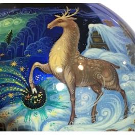 Коллекционное елочное украшение, расписной шар «Серебряное копытце», Худ.Гурылева, Палех