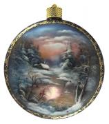 Елочный шар-диск «Зима. Пейзаж»