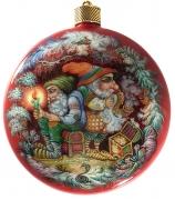 Елочный шар-диск «Гномы-золотоискатели», худ. Н.Куманева