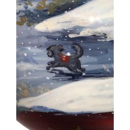 Коллекционный ёлочный шар «Волшебный вечер на катке», Художник М. Новикова, Палех