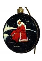 Елочный шар-диск «Девушка, одевающая коньки», Худ. О. Добрина, с.Палех.
