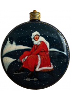 Елочный шар-диск «Девушка, надевающая коньки», Худ. О. Добрина, с.Палех.