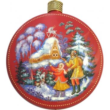 Коллекционная ёлочная игрушка. Расписной шар «Серебряное копытце», худ. М.Новикова, Палех
