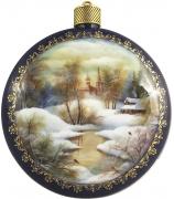Елочный шар-диск «Зима. Пейзаж»,  Худ. Иванова