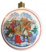 Елочный шар-диск «Барыня», Худ. Ю.Коновалова, с.Палех.