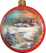 Елочный шар-диск «Зимний пейзаж»,  Худ. Иванова