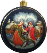 Елочный шар-диск «По воду», Худ. Ю.Коновалова, с.Палех.