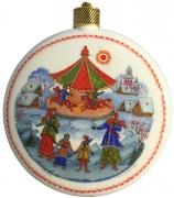 Елочный шар-диск «Карусель», Худ. Ю.Коновалова, с.Палех.
