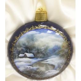 Коллекционная ёлочная игрушка. Расписной шар-диск «Зимний пейзаж». Худ. Иванова, Федоскино.