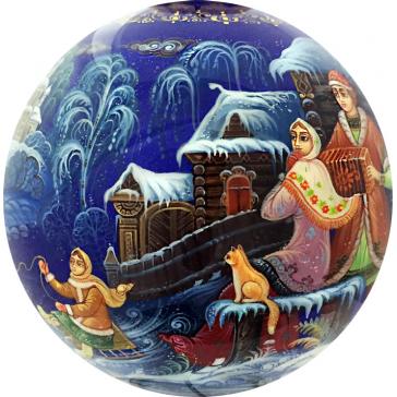 Коллекционный ёлочный шар «Зимние забавы», Худ. Г.Гурылева, Палех