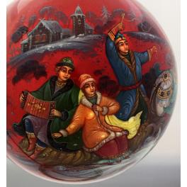 Коллекционный ёлочный шар «Ах ты, зимушка-зима», Худ. Г.Гурылева, Палех