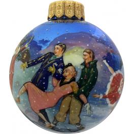 Коллекционный ёлочный шар «На катке», Художник Юскова, Палех