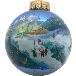 Коллекционн ёлочная игрушка - расписной шар «Зимние забавы», Художник М. Новикова, Палех