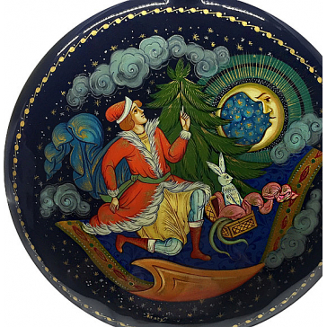 Коллекционное ёлочное украшение шар-диск «Ковер-самолет», Худ. Денисенко, с.Палех.