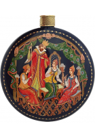 Елочный шар-диск «Сказка о царе Салтане», Худ. Денисенко, с.Палех.