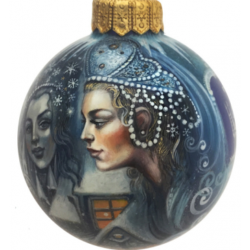 Коллекционное елочное украшение, расписной шар «Снежная королева», Худ. Быкова, Палех