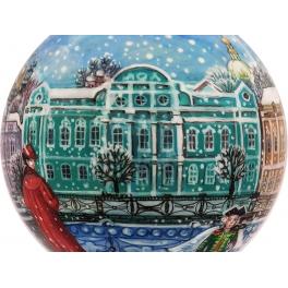 Коллекционный ёлочный шар «Зима на Неве», Художник Р.Шемякина, Палех
