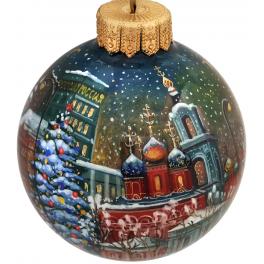 Коллекционный ёлочный шар «Зимняя Москва», Художник Р.Шемякина, Палех