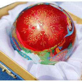 Коллекционный расписной ёлочный шар «Золушка», худ. Латышева, Палех