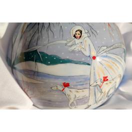 Коллекционный ёлочный шар ручной работы «Прогулка по парку», Художник М. Новикова, Палех