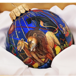 Коллекционный ёлочный шар «Цирк», Художник Р.Шемякина, Палех
